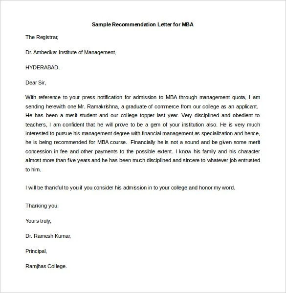 Sample Of Recommendation Letter For Mba By Employer Taxonomy