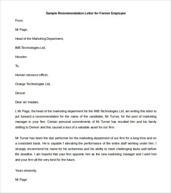 21+ Recommendation Letter Templates u2013 Free Sample, Example Format - work recommendation letters