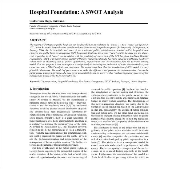 8+ Hospital SWOT Analysis Templates \u2013 Free Sample, Example, Format