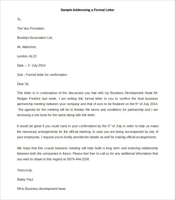 Formal Letters Formal Letter Example Formal Letter Example Sample - formal letters