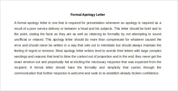 Unique Formal Apology Letter Example Elaboration - Resume Ideas - letter of apology example