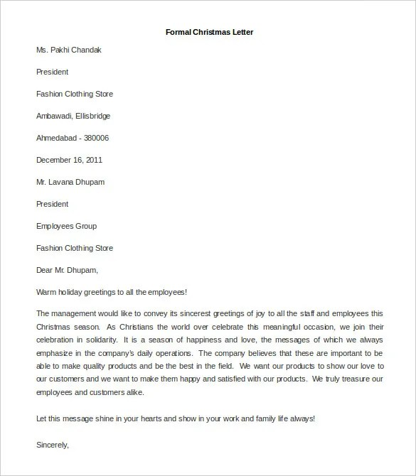 31+ Best Formal Letter Template - Free Sample, Example Format - sample formal letter