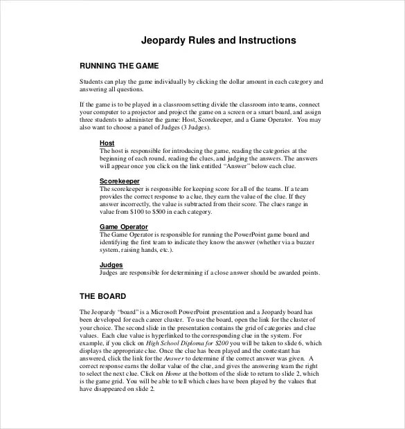 Classroom Jeopardy Template - 8+ Free Word, PDF, PPT Documents