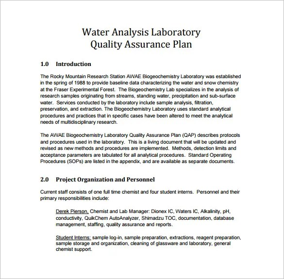 12+ Quality Assurance Plan Templates \u2013 Free Sample, Example, Format - quality assurance planning