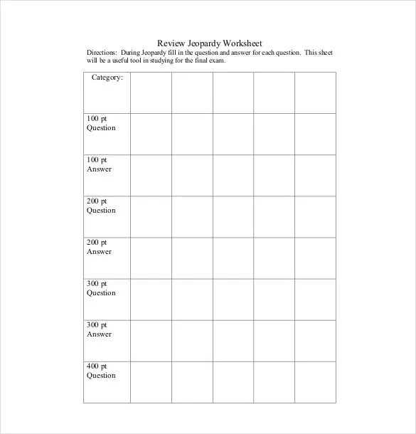 7+ Blank Jeopardy Templates - Free Sample, Example, Format Download