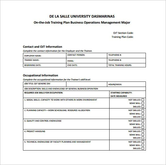 sample training plan template for employees - Ozilalmanoof - sample training plan