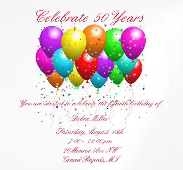 15+ 50th Birthday Invitations \u2013 Free PSD, AI, Vector EPS Format