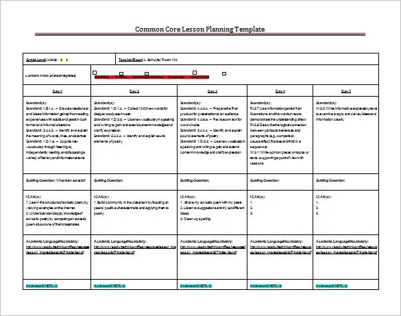 8+ Lesson Plan Templates \u2013 Free Sample, Example, Format Download - sample common core lesson plan