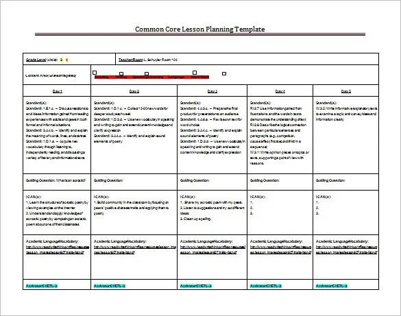 Common Core Standards Lesson Plan Template Costumepartyrun