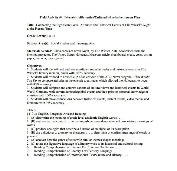 8+ Lesson Plan Templates \u2013 Free Sample, Example, Format Download - teks lesson plan template