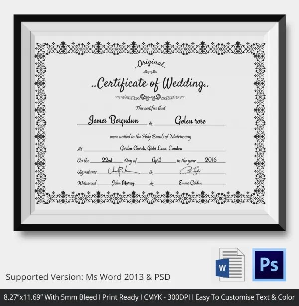 Wedding Certificate Templates - mandegarinfo - wedding certificate template