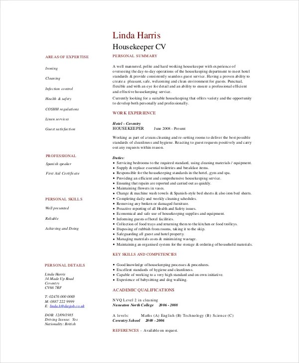 Housekeeping Resume Template - 4+ Free Word, PDF Documents Download