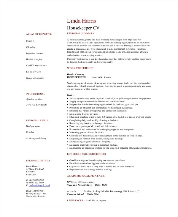 Housekeeping Resume Template - 4+ Free Word, PDF Documents Download - Housekeeping Resumes