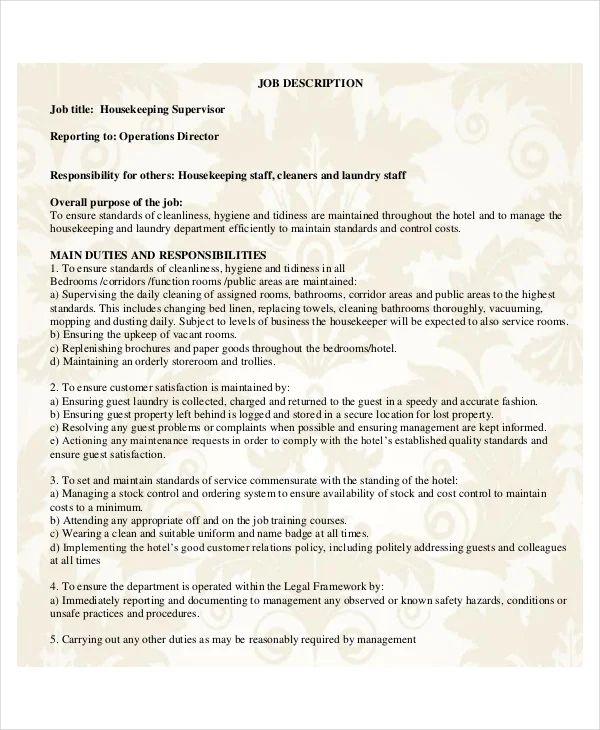 housekeeping resume format