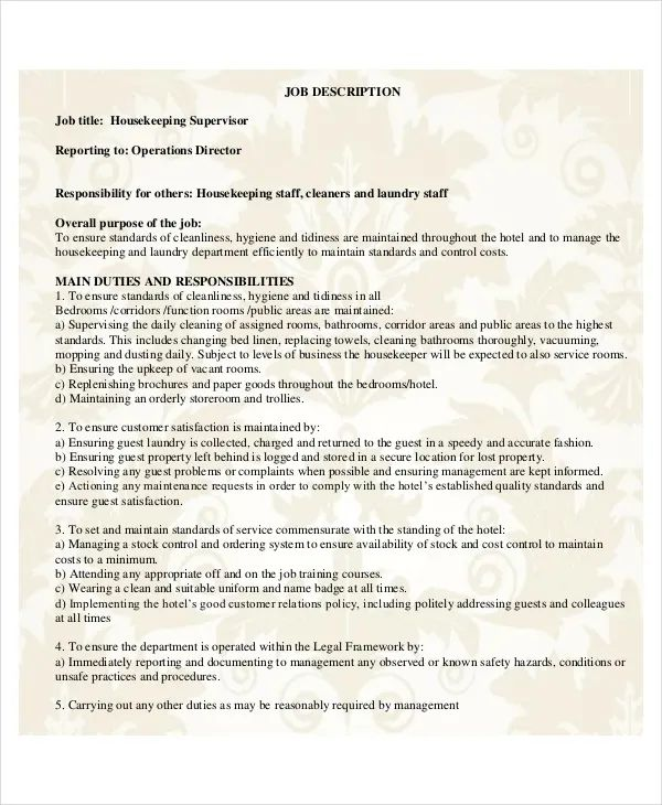 resume for housekeeping