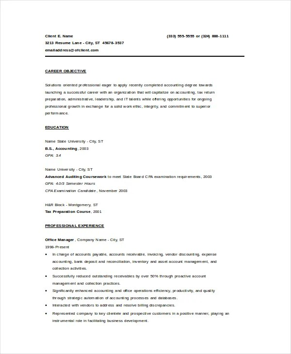 Bookkeeper Resume Template - 5+ Free Word, PDF Documents Download - bookkeeper resume