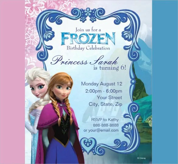 26+ Frozen Birthday Invitation Templates u2013 Free Sample, Example - invitations samples for birthday