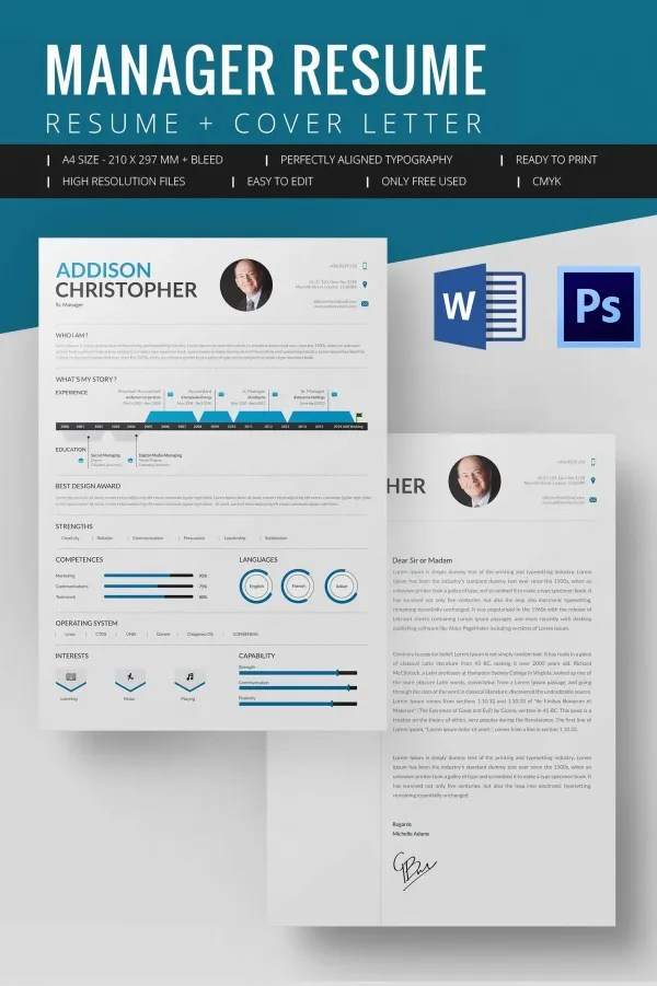 Microsoft Word Resume Template u2013 99+ Free Samples, Examples - cover page template word free