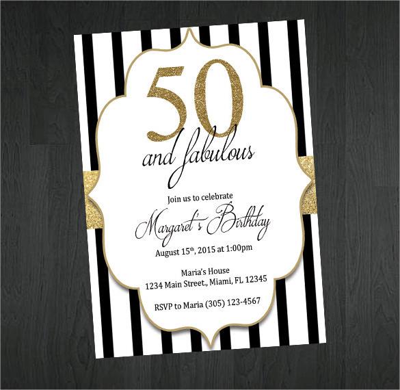 45+ 50th Birthday Invitation Templates u2013 Free Sample, Example - free birthday invite template
