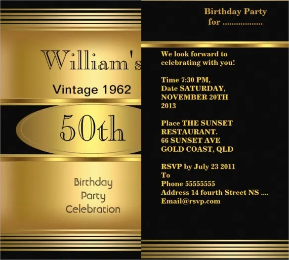 45+ 50th Birthday Invitation Templates \u2013 Free Sample, Example - birthday e invites