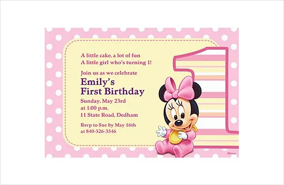 32+ Minnie Mouse Birthday Invitation Templates - Free Sample - free first birthday invitations templates