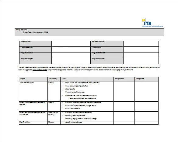 8+ Project Communication Plan Templates - Free Sample, Example - project plan templates word