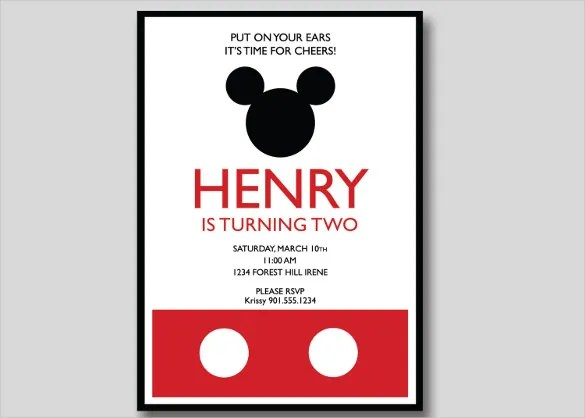 20+ Mickey Mouse Birthday Invitation Templates \u2013 Free Sample