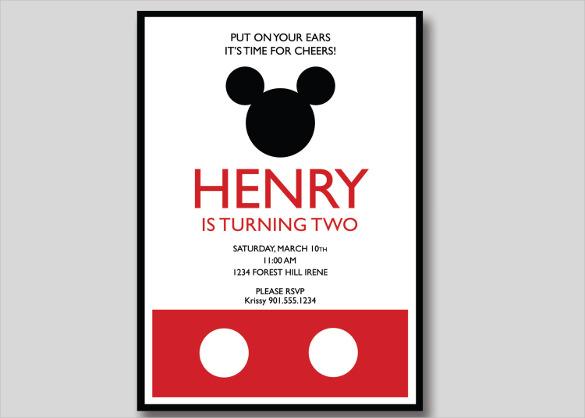 20+ Mickey Mouse Birthday Invitation Templates \u2013 Free Sample