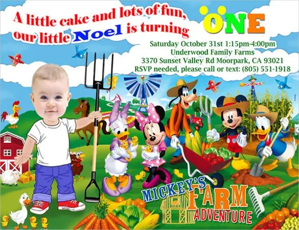 20+ Mickey Mouse Birthday Invitation Templates \u2013 Free Sample - mickey mouse birthday invitation template