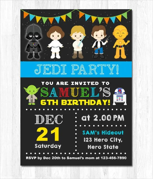 21+ Star Wars Birthday Invitation Template \u2013 Free Sample, Example - birthday invitation card templates free download