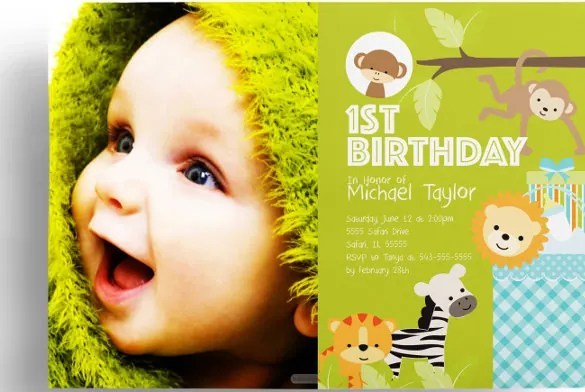Kids Birthday Invitation Templates u2013 31+ Free PSD, Vector EPS, AI - free first birthday invitation template
