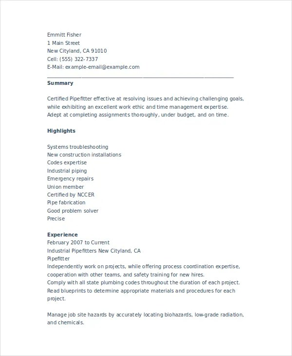 Pipefitter Resume Template - 6+ Free Word, Documents Download Free