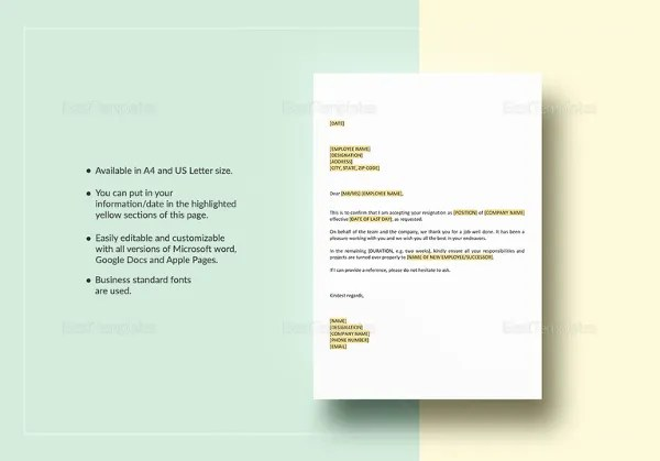 Resignation Letter Template - 38 Free Word, PDF Documents Download - microsoft office resignation letter template