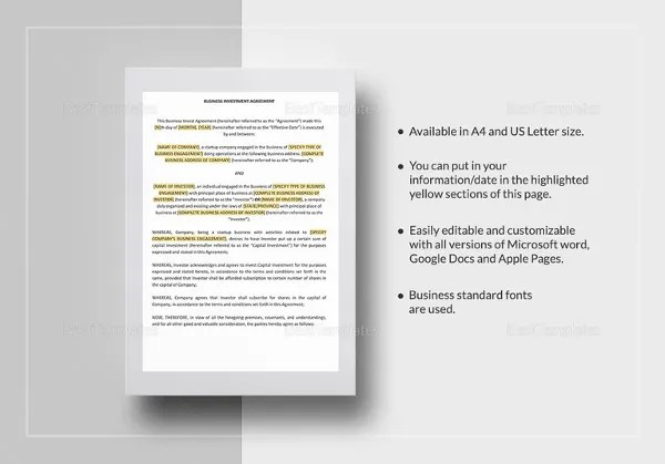 14+ Investment Agreement Templates \u2013 Free Sample, Example, Format