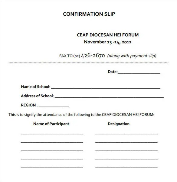 Slip Template \u2013 13+ Free Word, Excel, PDF Documents Download! Free - payment slip sample