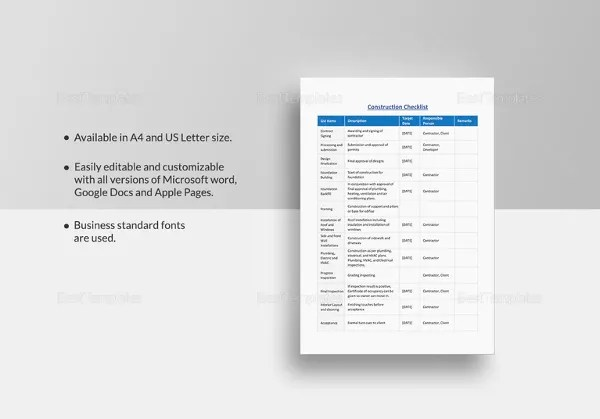 34+ Word Checklist Template - Examples in Word Free  Premium - microsoft word checklist template