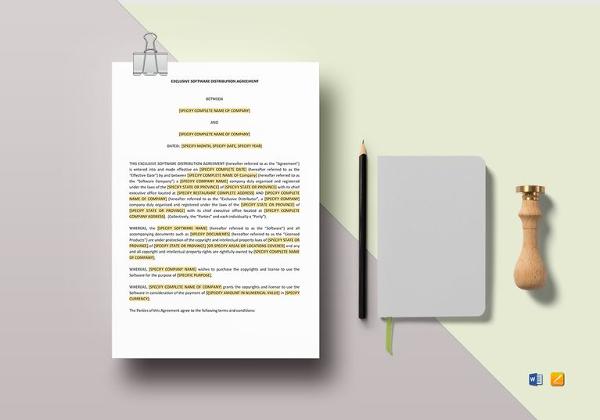 Distribution Agreement Template \u2013 15+ Free Word, PDF Documents - distribution agreement template
