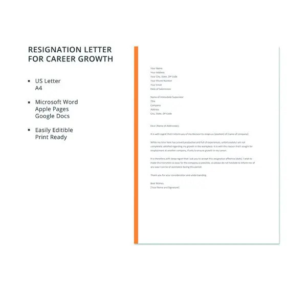69+ Resignation Letter Template - Word, PDF, IPages Free  Premium