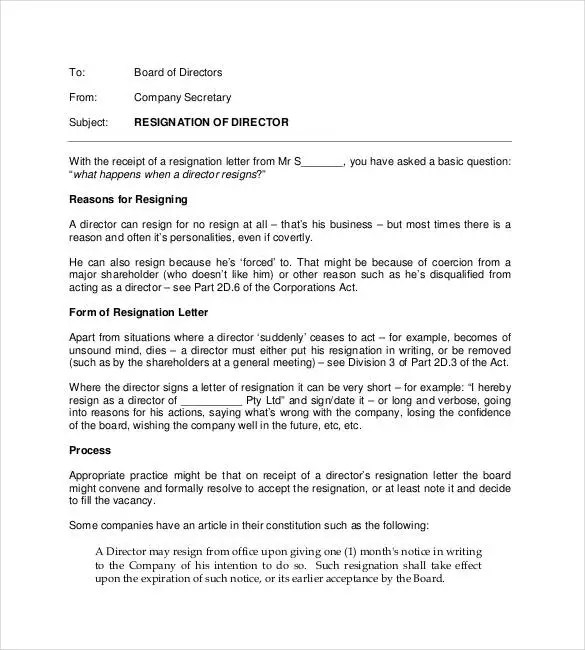 69+ Resignation Letter Template - Word, PDF, IPages Free  Premium - free resignation letter