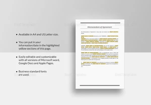 Memorandum of Agreement Template \u2013 12+ Free Word, PDF Document - heads of agreement template free