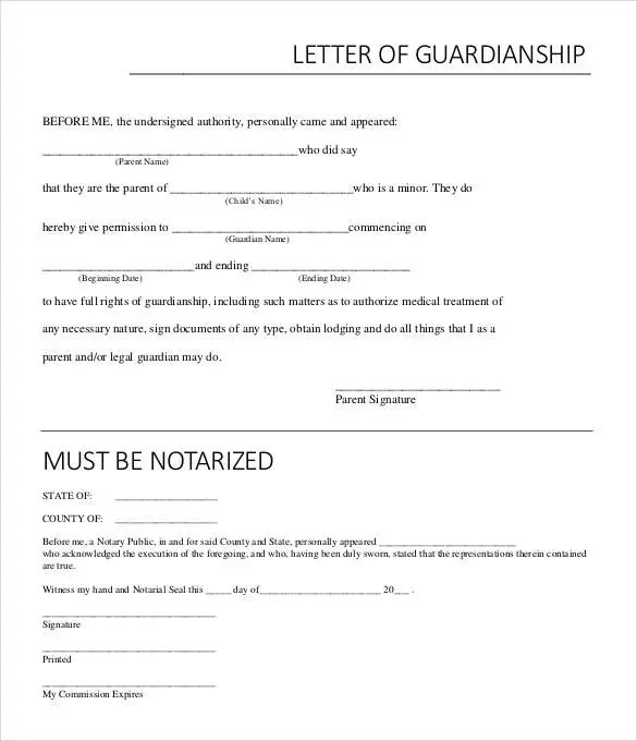 notarized letter of guardianship