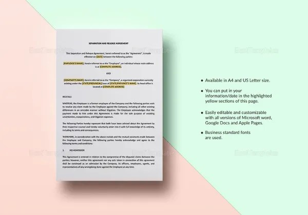 Separation Agreement Template \u2013 13+ Free Word, PDF Document Download - business separation agreement