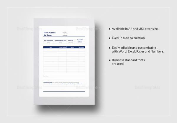 Bid Sheet Template -12+ Free Sample, Example, Format Download - sample silent auction bid sheet