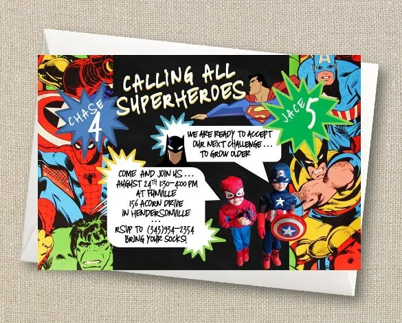 Superhero Invitations Template - Costumepartyrun