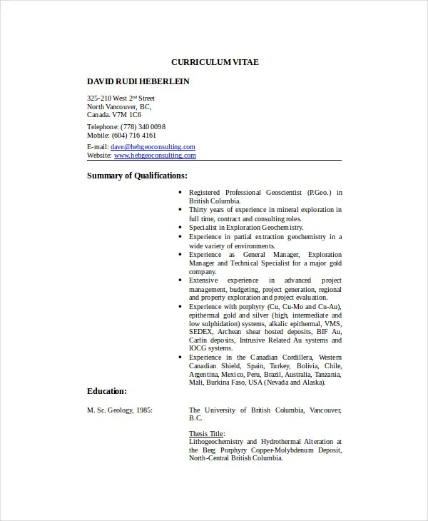 Geologist Resume Template - 6+ Free Word, PDF Documents Download - resume templates canada free