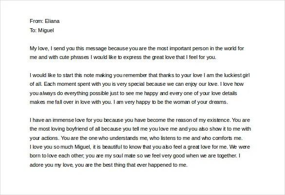 Free Sample Love Letter To Boyfriend – Sample Love Letter