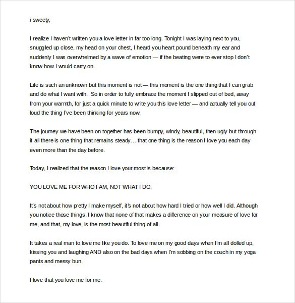 8+ Romantic Love Letter Templates \u2013 Free Sample, Example, Format