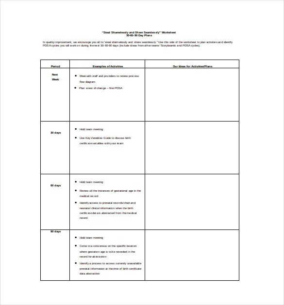 12+ 30 60 90 Day Plan Templates - Free Sample, Example, Format - 90 day plan template