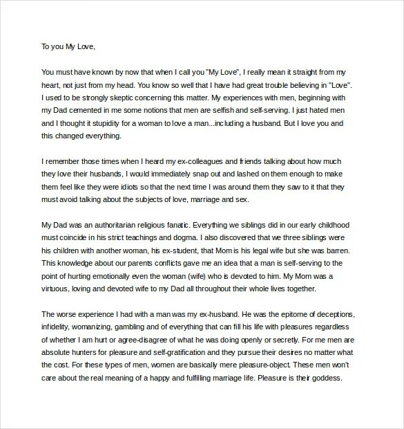 11+ Love Letter Templates to My Husband - DOC Free  Premium Templates