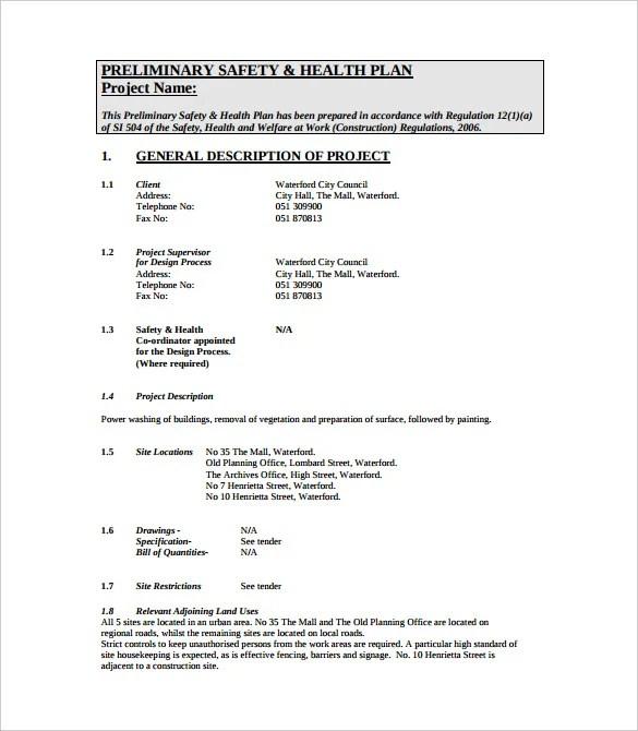 sample safety plan - Goalgoodwinmetals